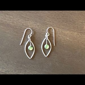 Silver Leaf Shaped Drop Earrings with Green Stone